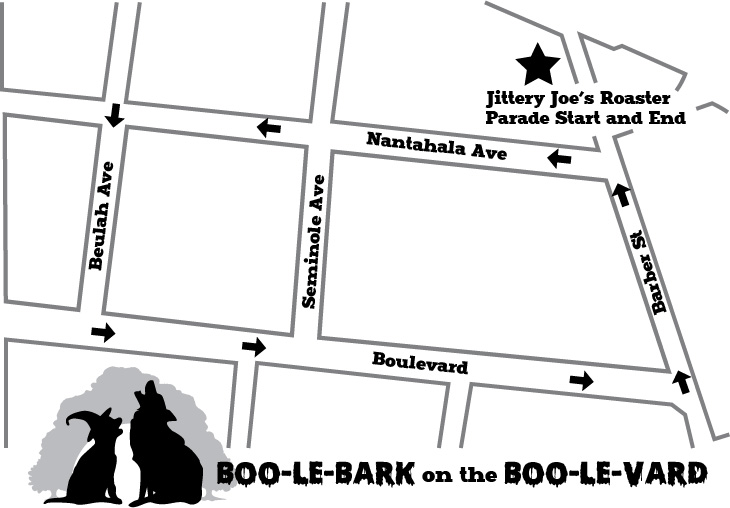 Map of parade route from Jittery Joe's on Barber Street